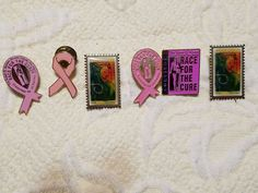 Lot of6 Pink Ribbon Breast Cancer Awareness Pins Race For The Cure Postage Stamp