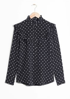 & Other Stories image 1 of Raised Collar Frill Blouse in Black