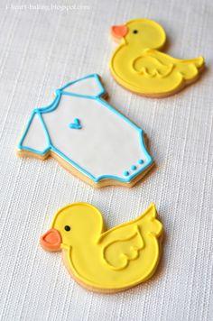 baby shower cookies   heart baking!: baby shower duckie and onesie cookies
