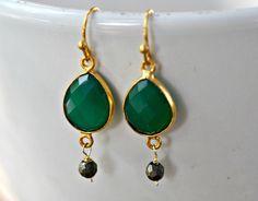 Green Onyx Gold Bezel Earring, Boho Style Gold Bezel Green Onyx Earring, Bridesmaid Green Onyx Earring, Onyx Gemstone Earring by JewelrybyXinyiMartin on Etsy
