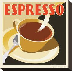 Deco Espresso I Impressão em tela esticada