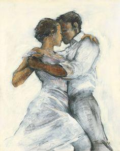 Tango passion, by Peter Truran Dancing Drawings, Dancing Sketch, Tango Art, Tango Dancers, Sketches Of Love, Kunst Online, Dance Paintings, Shall We Dance, Encaustic Art