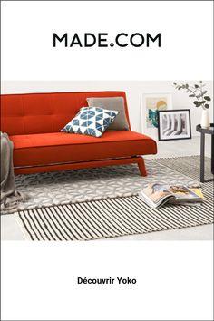 Yoko Canape Clic Clac Orange Electrique En 2020 Canape Lit 3 Places Canape Convertible