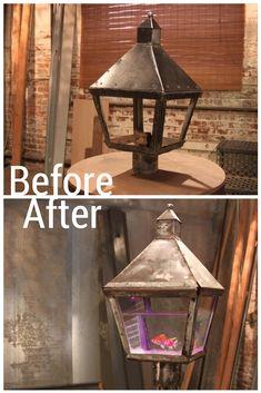 A Lamp Post Top Transforms into an Aquarium? What a conversation starter!