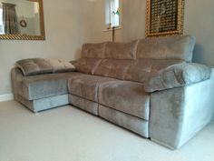 This modern sofa features electric recliners with adjustable headrests, storage under chaise and inside sofa arm provides additional practicality. Delivered to our client in London. Modern Sofa, Modern Bedroom, Contemporary Furniture, Recliners, Sofas, Leather Bed, Sofa Design, Electric, Arm