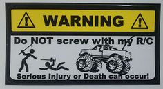 RC Truck Warning Decal Nitro Electric Gas HPI Losi Traxxas Kyosho AE | eBay
