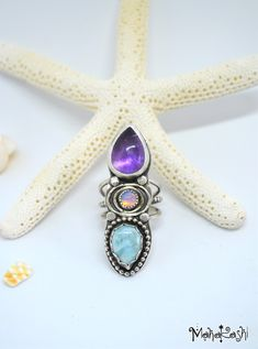 Handmade sterling silver ring with Amethyst, Ethiopian Opal and Larimar size US 7, UK O Hippie Boho Mermaid Faerie Gypsy Silver925