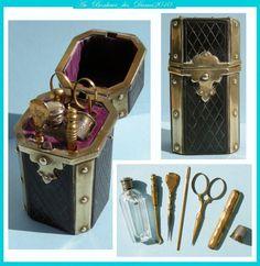 Boite Nécessaire de voyage couture coudre XIXe ciseaux flacon odeur Napoléon III | eBay