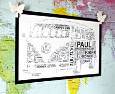 VW Campervan Personalised A4 Word Art Print,  FREE UK P&P. Special Iconic Gift, Typography, Retro, Volkswagen, - pinned by pin4etsy.com