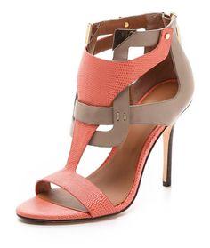 coral & neutral heels