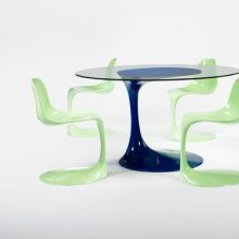 dining table and six chairs by Rudi Bonzanini