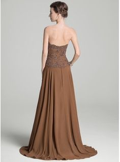 A-Line/Princess Sweetheart Sweep Train Beading Appliques Lace Sequins Zipper Up Strapless Sleeveless Yes 2016 Brown Spring Fall Winter General Plus Mother of the Bride Dress