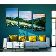 Personalized Canvas Print Mountain Flowers 35x50cm 40x60cm 50x70cm Framed Canvas Painting Set of 3 - AUD $ 52.05
