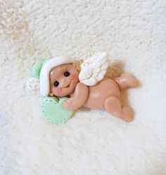 baby angel Christmas ornament polymer clay angel baby by clayqts, $17.95