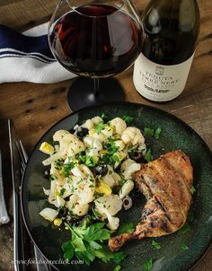 Tenuta delle Terre Nere Etna Rosso paired with grilled chicken and a Sicilian cold cauliflower salad
