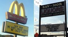 This McDonalds And Liquor Store Hilariously Traded Blows Using Their Billboards . Poll... Who won the sign battle