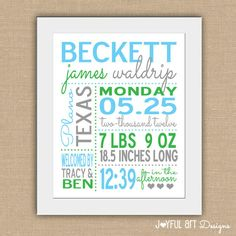 Birth Statistic PRINTABLE Wall Art.  Personalized Baby Stats.  Nursery Decor.  Baby Shower Gift.  Customized Digital Art. $12.00