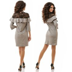 Stylish ladies gray suede & lace a-line midi dress #suede #lace #a-line #dress