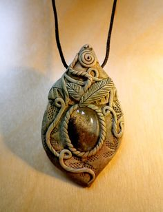 polymer clay pendant by nouveaushades on Etsy,