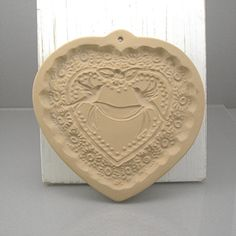 Cookie Mold Valentine Bridal Heart by Brown Bag Cookie Art Bisque Ceramic Clay Mold Wedding Vintage Dated 1985 Kitchen Baking Collectible