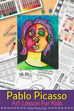 Are your students bored with art history lessons? Why not liven up your projects with a game? Pablo Picasso, Kunst Picasso, Picasso Art, Art Games For Kids, Art Lessons For Kids, Art Sub Plans, Art Lesson Plans, Picasso Portraits, Middle School Art Projects