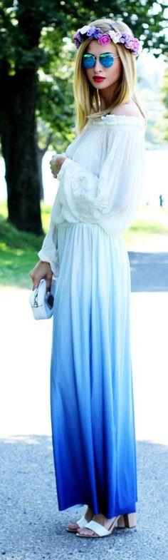 White To Blue Romantic Tie-dye Maxi Dress by Beauty - Fashion - Shopping