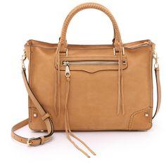 Rebecca Minkoff Regan Satchel ($345) ❤ liked on Polyvore featuring bags, handbags, cuoio, satchel purse, satchel handbags, leather satchel, leather satchel handbags and leather satchel purse