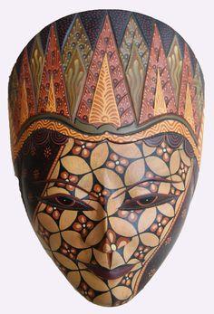 Traditional Handmade Javanese Wooden Mask BAtik Painting Home & Wall Decor $45.50