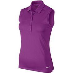 8283a72c4fc68 Women Golf Clothing - NIKE Golf Womens Victory Solid Sleeveless Polo Cosmic  Purple White SM
