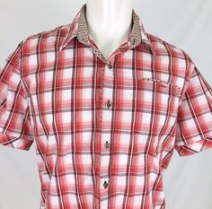 "7 Diamonds Red ""Chariots Of Fire"" Plaid S/S Casual Shirt Men's Large VGC #7Diamonds #ButtonFront"