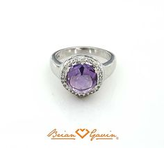 3.28 ct Round Cab Light Amethyst Silver Ring