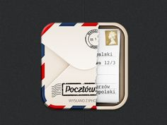 Dribbble - Pocztówka beta icon by Konrad Kolasa