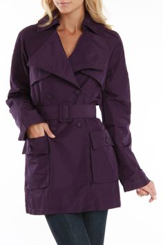 Trench Coat With Belt In Purple