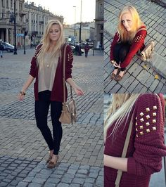 Burgundy sweater with studs & loafers  (by Estera Morawska) http://lookbook.nu/look/4147010-burgundy-sweater-with-studs-loafers