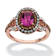 Palm Beach Jewelry Oval-Cut Fuschia Crystal Halo Ring Made With Swarovski Elements in Rose over Sterling