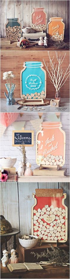 Mason Jar wooden wedding guest books / http://www.deerpearlflowers.com/rustic-country-wood-wedding-guest-books/