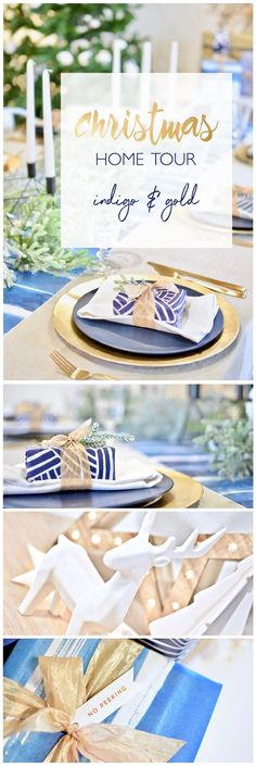 Lots of pretty Christmas decorating ideas using a palette of indigo and gold.