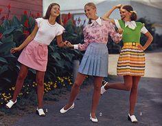 1960s, fashion, girls, retro, school, skirts, teen, vintage