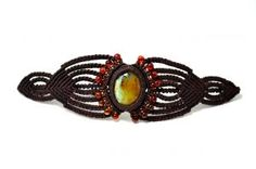 Macrame Bracelet with Peruvian Opal and Fire Agate Stones by Coco Paniora Salinas