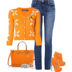 orange and denim1, created by cm65 on Polyvore