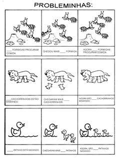 Vamos trabalhar a soma, a subtração simples com contagem e percepção das partes iguais ou diferentes para compor o todo da imagem que rep... Math For Kids, Professor, Preschool, Classroom, Journal, Teaching, Gabriel, Emei, Pitta