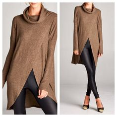 Brown Cowl Turtleneck Tunic Top