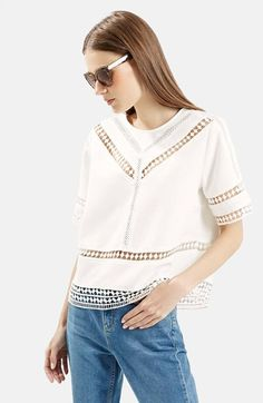 Topshop+Crochet+Trim+Shirt+available+at+#Nordstrom