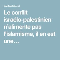 Le conflit israélo-palestinien n'alimente pas l'islamisme, il en est une…