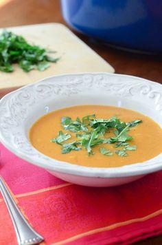 Sweet Potato Coconut Curry Soup ~ http://www.fromvalerieskitchen.com