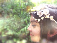 Floral Crown, bridal halo of flowers, hair accessory for wedding, bells and roses for flower girl or bridesmaids