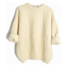 Vintage Cable Knit Wool Fisherman Sweater in Ivory Cream Irish Fisherm ❤ liked on Polyvore featuring tops, sweaters, ivory cable knit sweater, vintage sweaters, beige cable knit sweater, fisherman's sweaters and cream cable knit sweater
