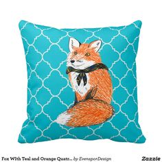 Fox WIth Teal and Orange Quatrefoils Pillows