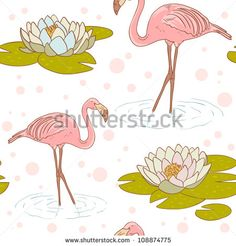Pink flamingo standing in the water with water lily flower seamless texture - stock vector