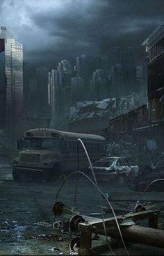 Nice and creepy apocalypse illustration. Post Apocalypse, Apocalypse World, Apocalypse Aesthetic, 3d Fantasy, Fantasy Landscape, Fantasy World, Cyberpunk, Dystopian Art, Dystopian Future